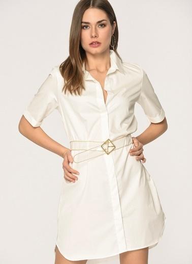 Loves You Kaplama Dokulu Poplin Gömlek Elbise Beyaz
